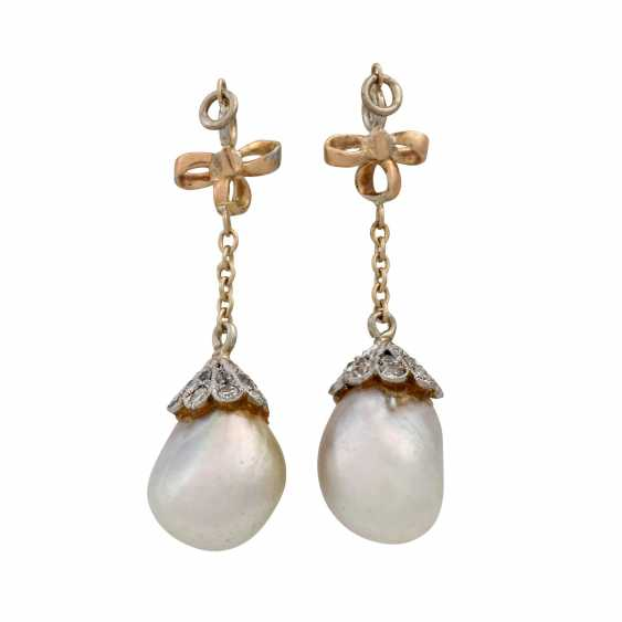 Pair of pendants with oriental pearls for ear studs, - photo 2
