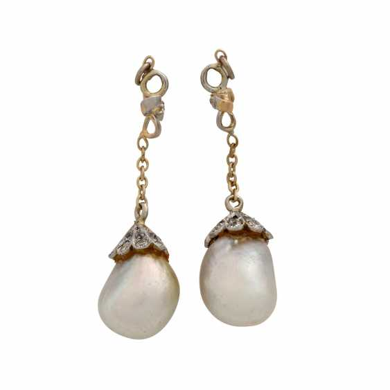 Pair of pendants with oriental pearls for ear studs, - photo 3