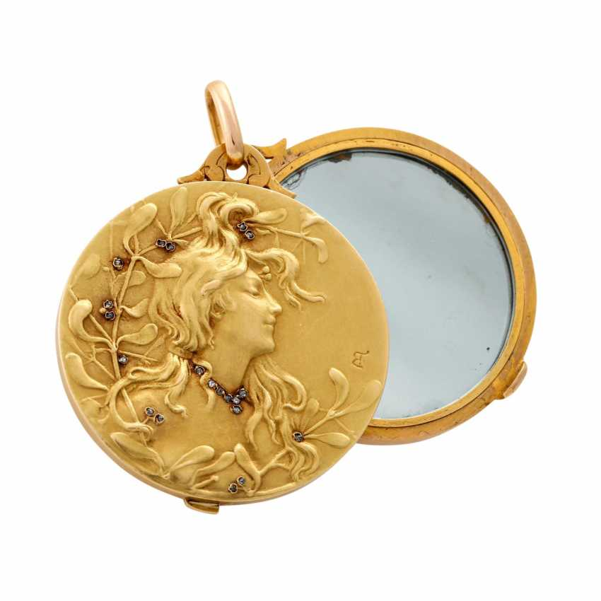 Art Nouveau medallion with mirror - photo 4