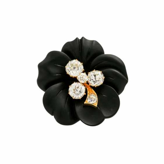 Onyx flower brooch with 5 old ship diamonds, - photo 1