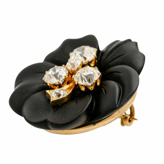 Onyx flower brooch with 5 old ship diamonds, - photo 5