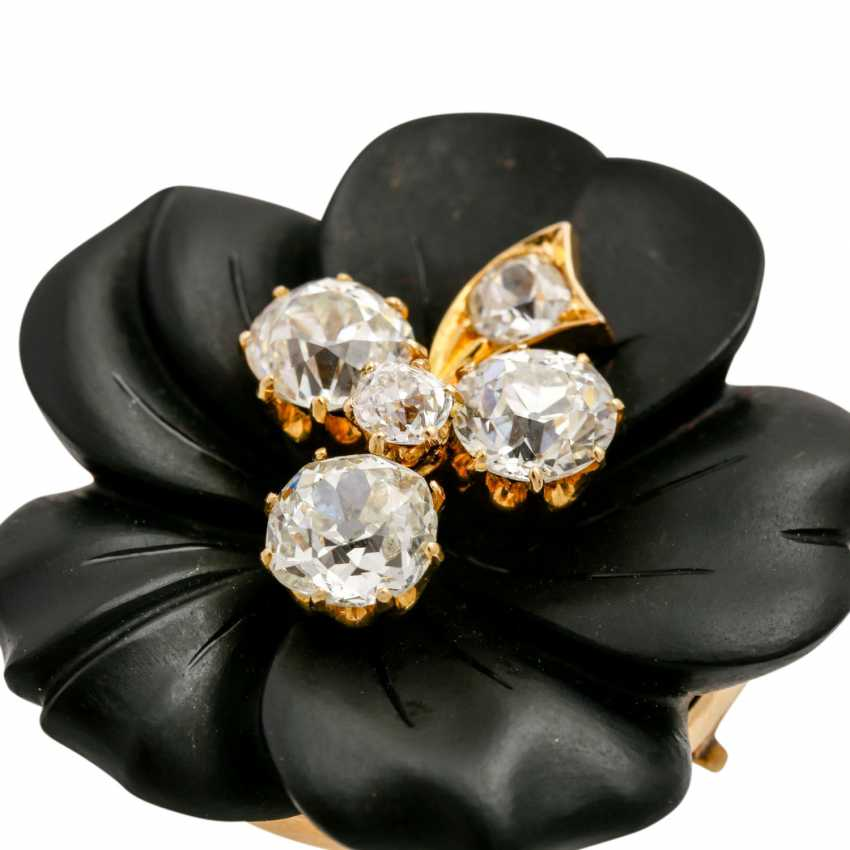 Onyx flower brooch with 5 old ship diamonds, - photo 6