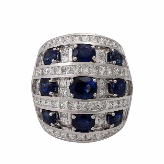 Ring with 9 sapphires and 74 diamonds - photo 2
