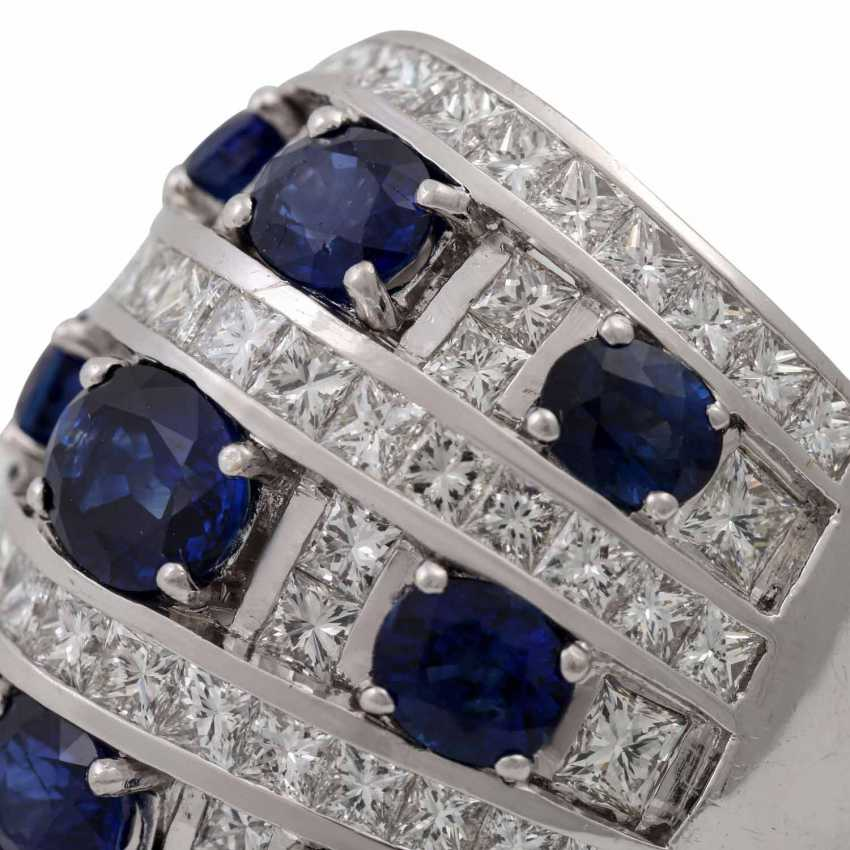 Ring with 9 sapphires and 74 diamonds - photo 5