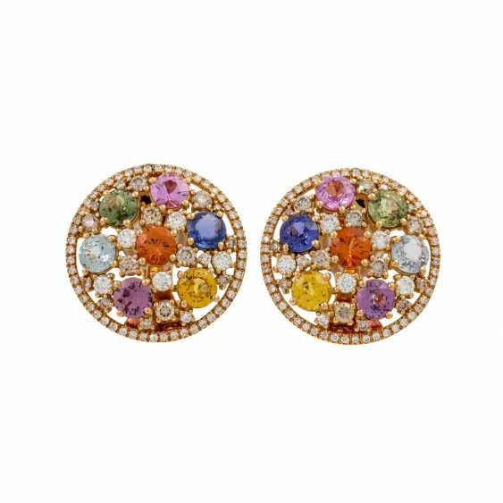 Clip-on earrings with various colored gemstones and diamonds, - photo 1
