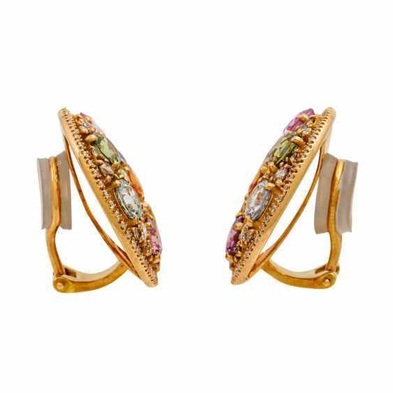 Clip-on earrings with various colored gemstones and diamonds, - photo 3