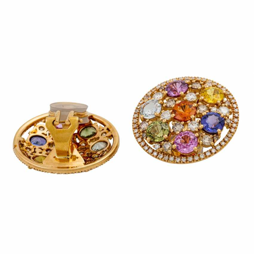 Clip-on earrings with various colored gemstones and diamonds, - photo 4