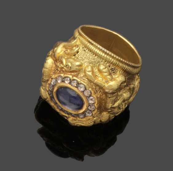 Oriental men's ring with extremely rare alexandrite - photo 1