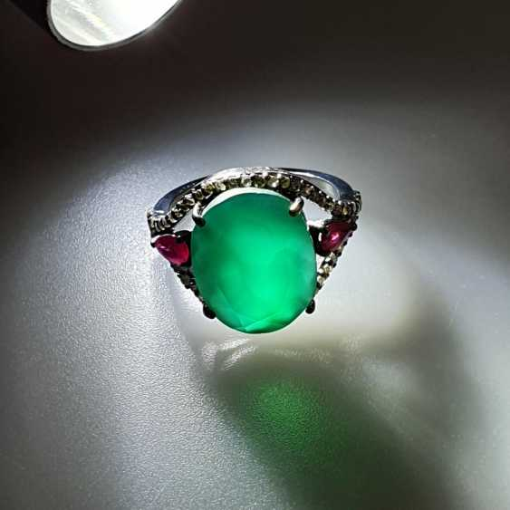 Onyx ruby ring with diamonds - photo 5