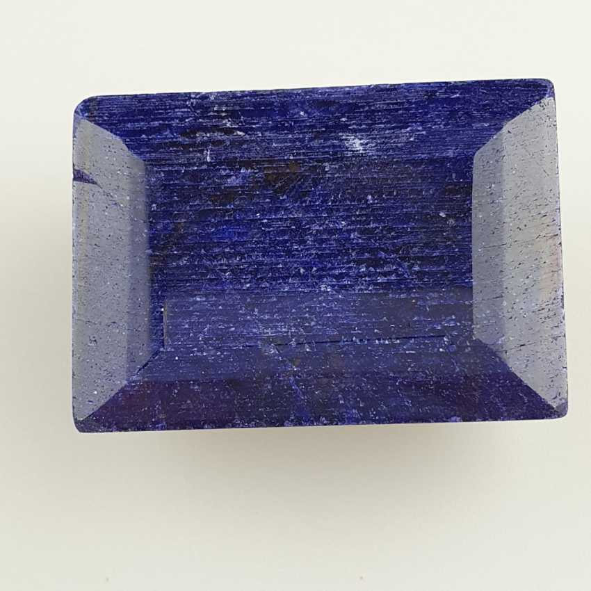 Large cut sapphire blue sapphire, rectangular faceted, approx. 429 ct, loose, with certificate - photo 1