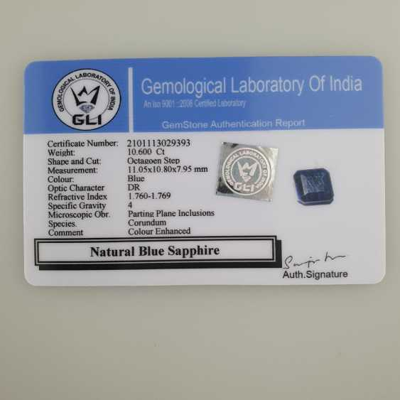 Blue sapphire, octagonal faceted, 10.60 ct, loose, with certificate - photo 6