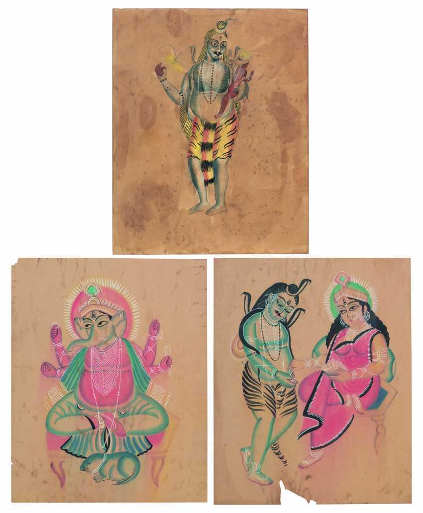 THREE KALIGHAT PAINTINGS: SHIVA AND GANESHA; SHIVA AND ANNAPURNA; GANESHA - photo 1