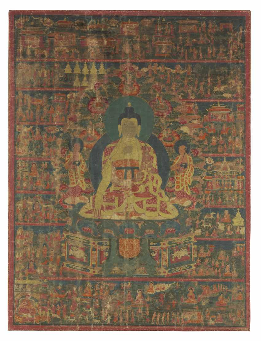 A PAINTING OF SHAKYAMUNI BUDDHA WITH LIFE SCENES - photo 1