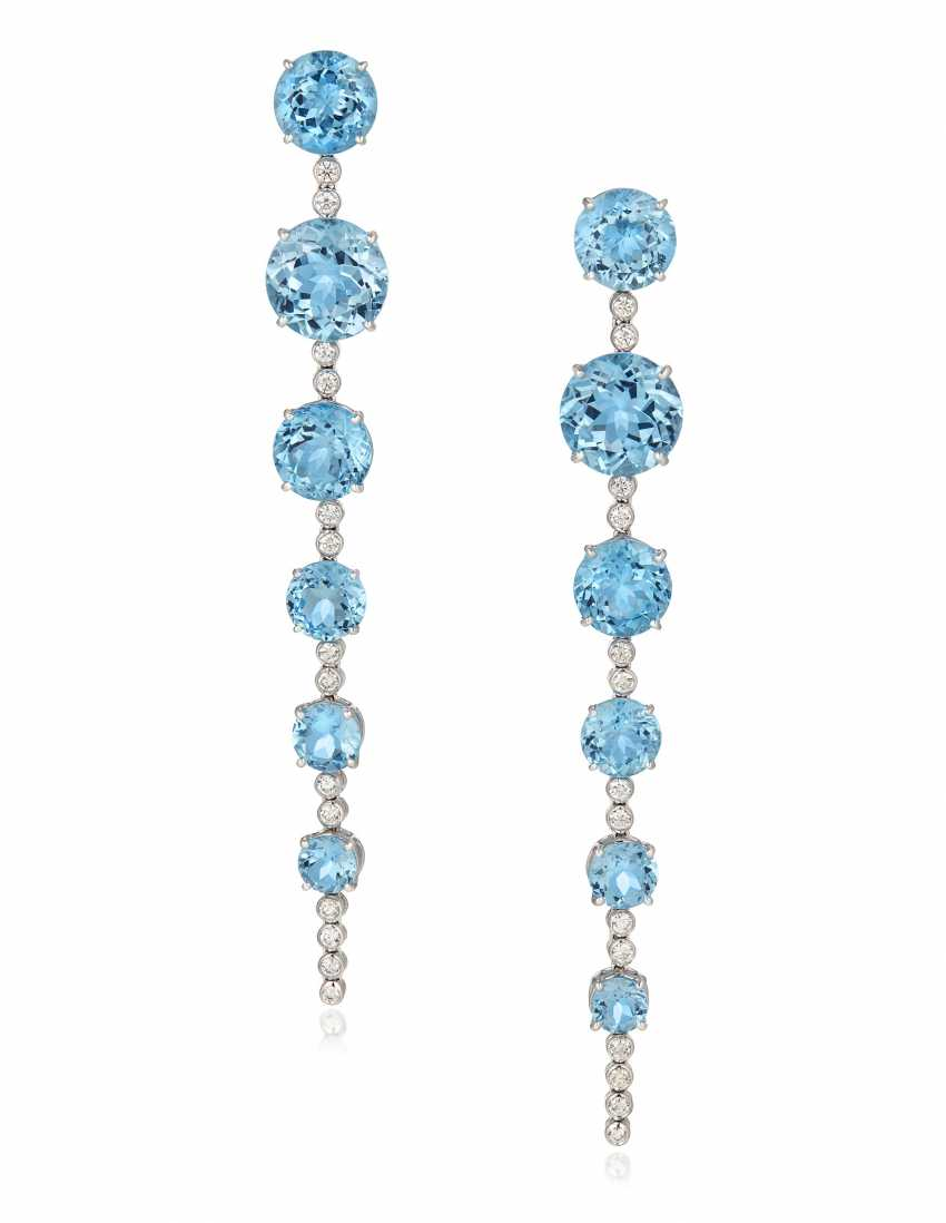 MICHELE DELLA VALLE BLUE ZIRCON AND DIAMOND EARRINGS - photo 1