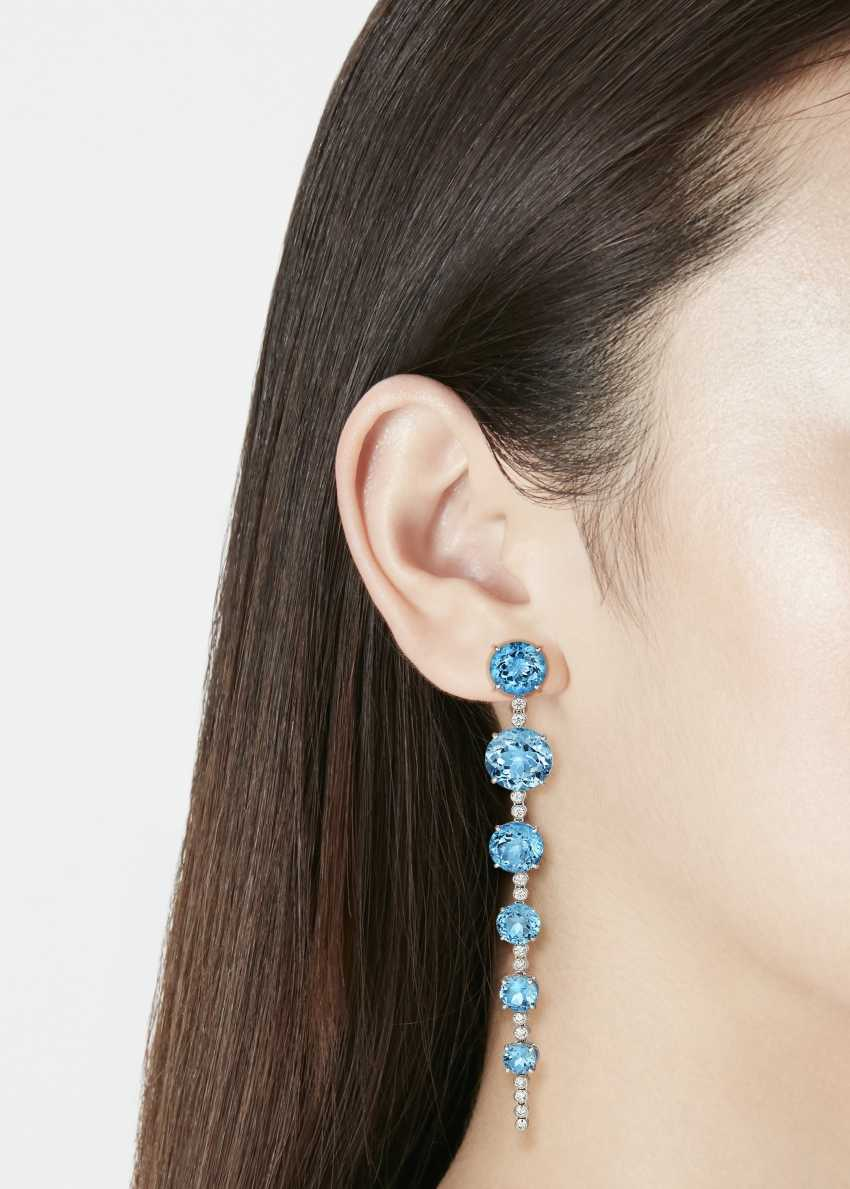 MICHELE DELLA VALLE BLUE ZIRCON AND DIAMOND EARRINGS - photo 2