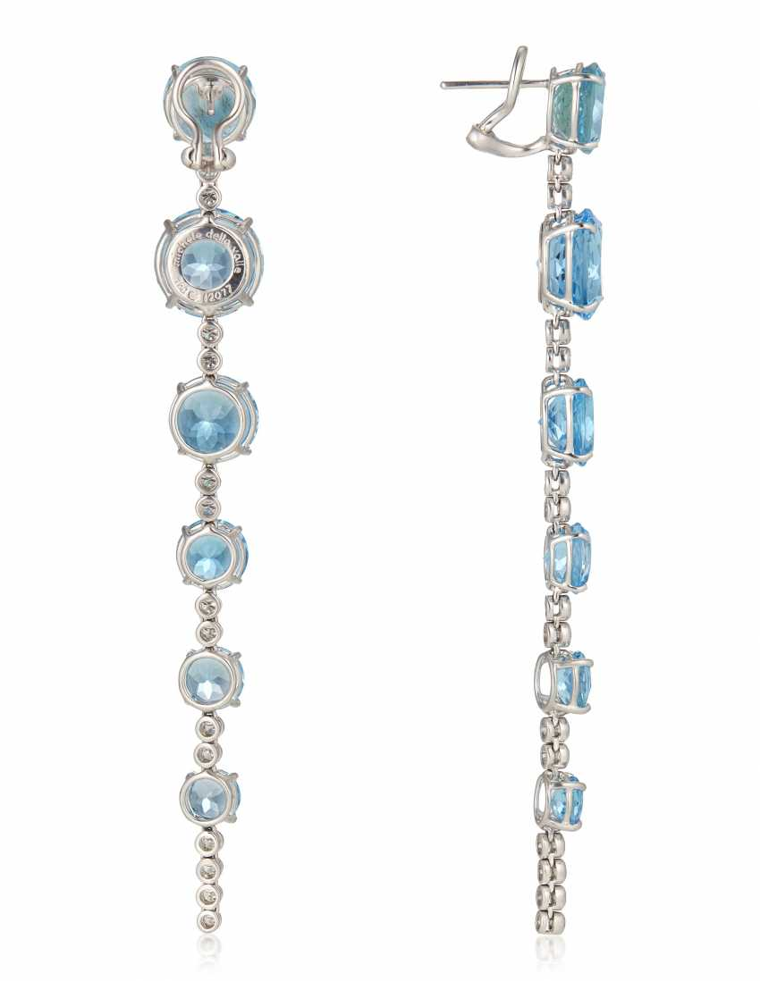 MICHELE DELLA VALLE BLUE ZIRCON AND DIAMOND EARRINGS - photo 3