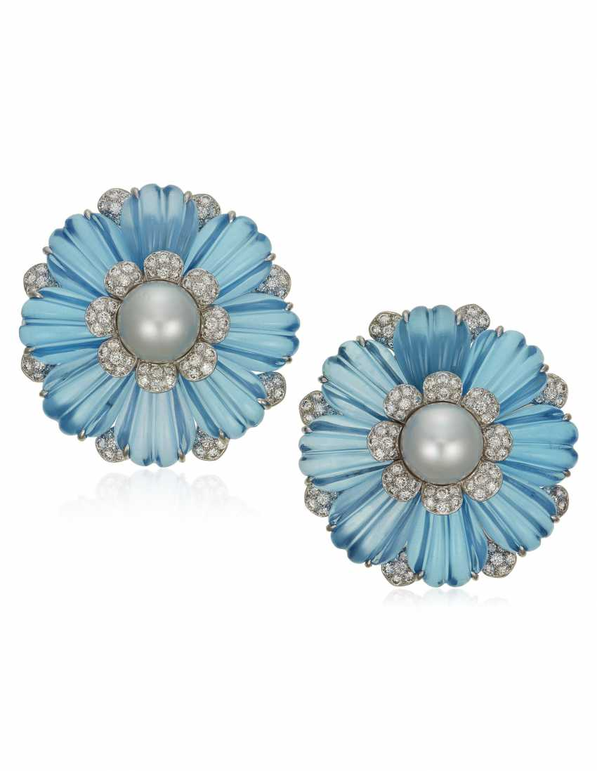 MICHELE DELLA VALLE TOPAZ, CULTURED PEARL AND DIAMOND EARRINGS - photo 1