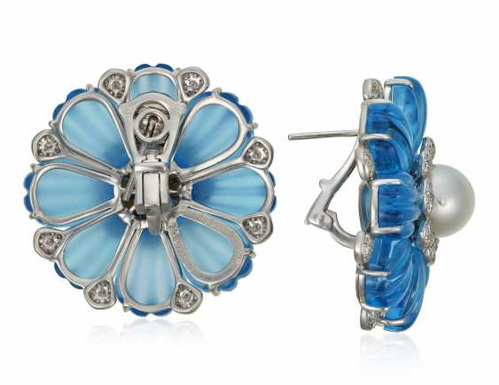 MICHELE DELLA VALLE TOPAZ, CULTURED PEARL AND DIAMOND EARRINGS - photo 3
