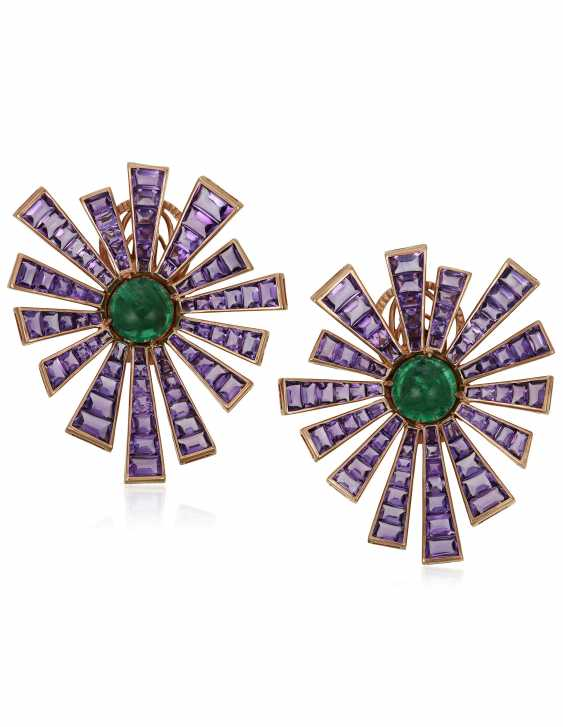 MICHELE DELLA VALLE AMETHYST AND EMERALD EARRINGS - photo 1