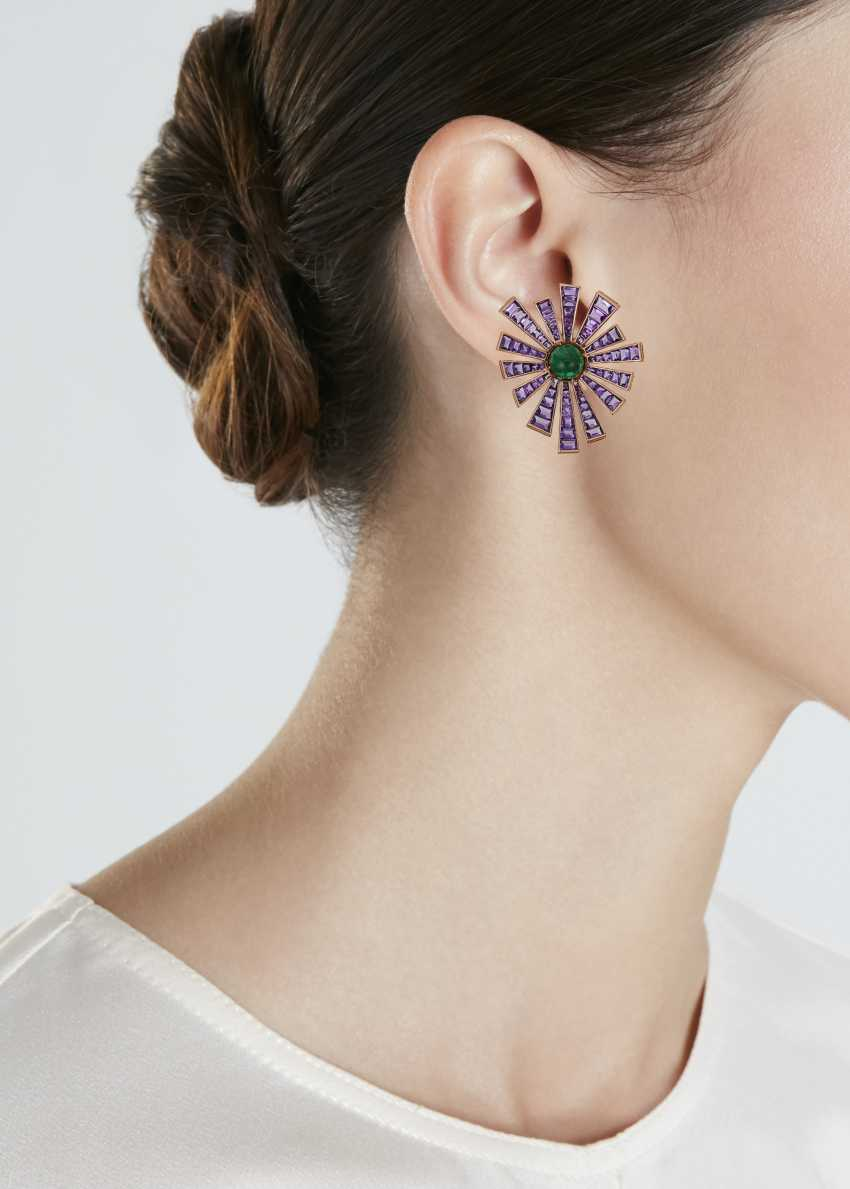 MICHELE DELLA VALLE AMETHYST AND EMERALD EARRINGS - photo 2