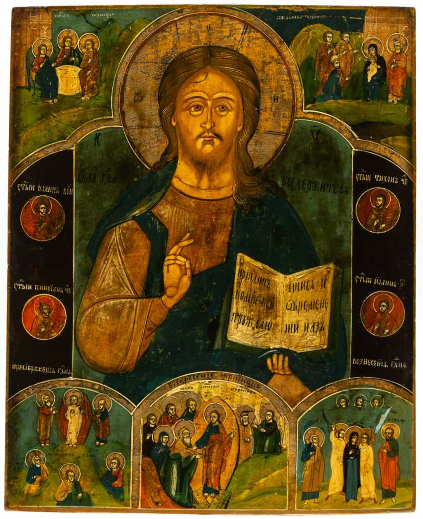 CHRIST PANTOKRATOR WITH FESTIVALS AND SAINTS - photo 1
