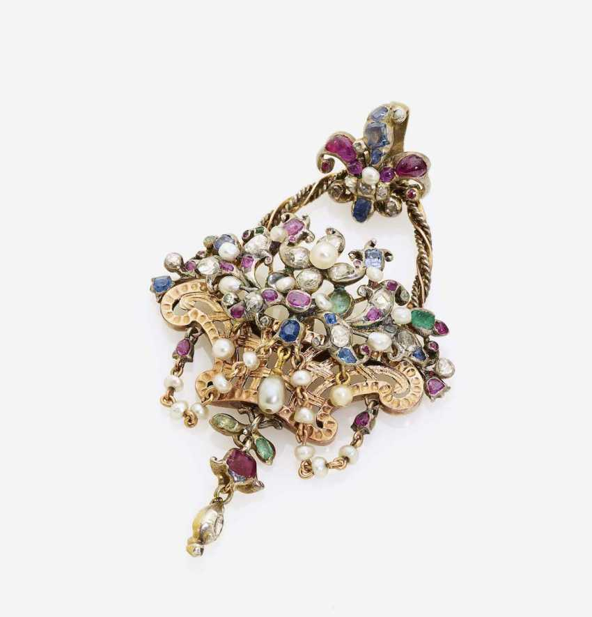 PENDANT IN THE SHAPE OF A FLOWER BASKET WITH DIAMONDS, RUBIES, SAPPHIRES, EMERALDS AND - photo 1