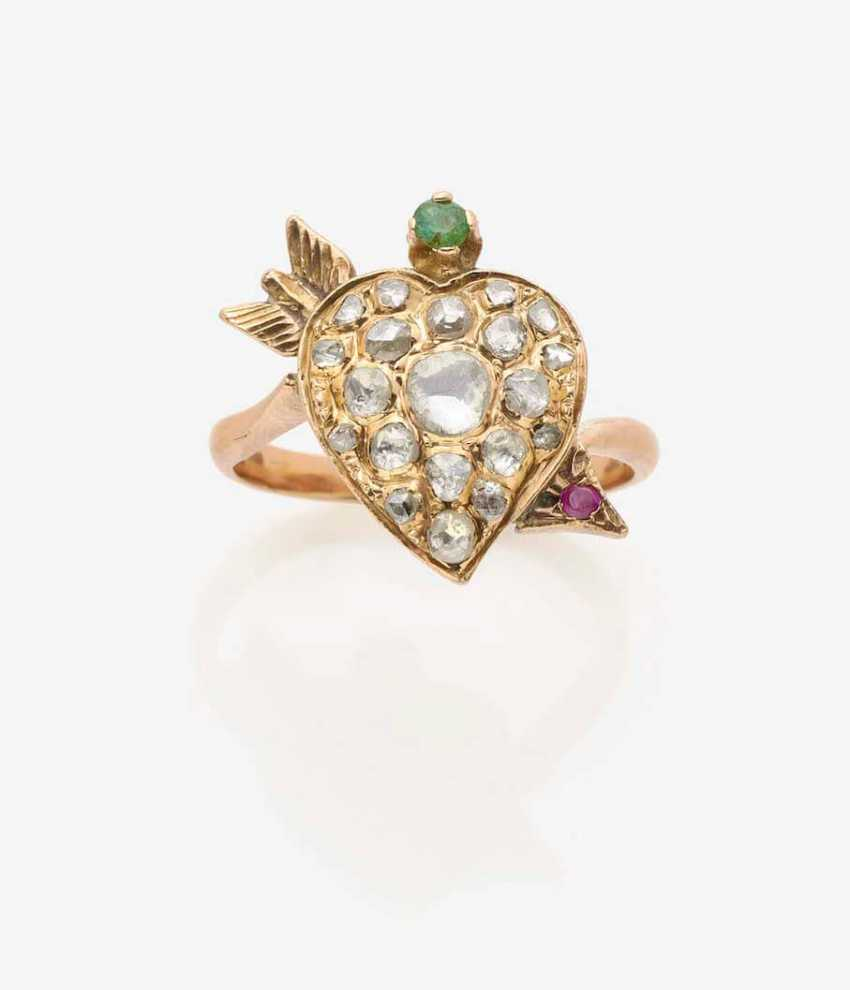 RING WITH A HEART-SHAPED RING HEAD SET WITH DIAMONDS - photo 1