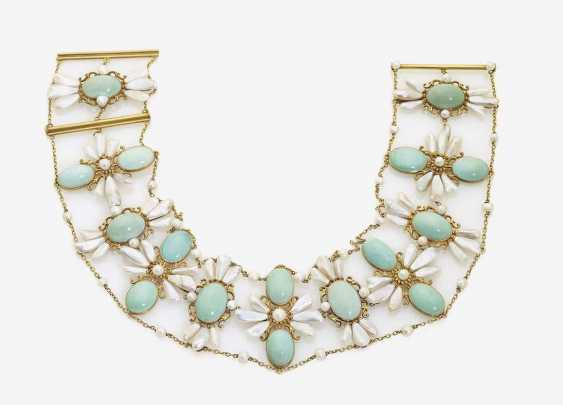 COLLIER DE CHIEN WITH PEARLS AND TURQUOISE - photo 1