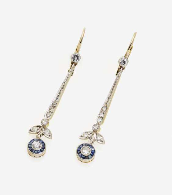 A PAIR OF DROP EARRINGS DECORATED WITH DIAMONDS AND SAPPHIRES - photo 1