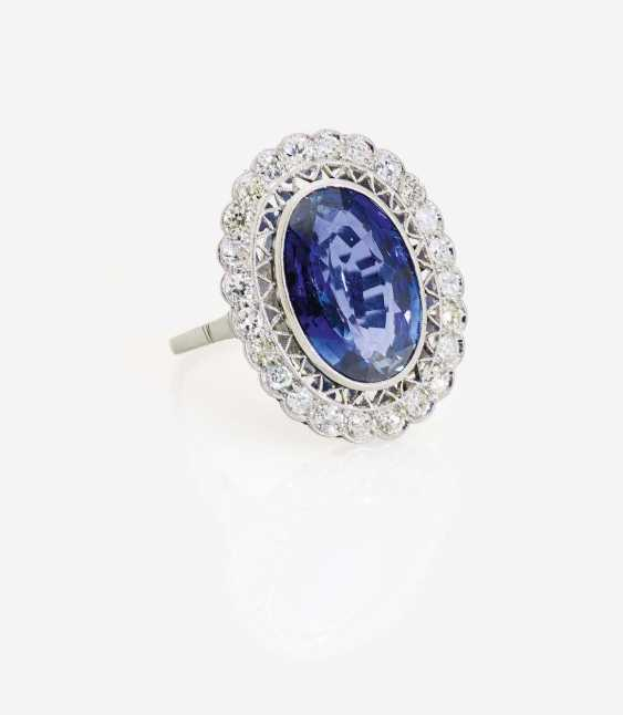 ENTOURAGE RING DECORATED WITH A SAPPHIRE AND DIAMONDS - photo 1