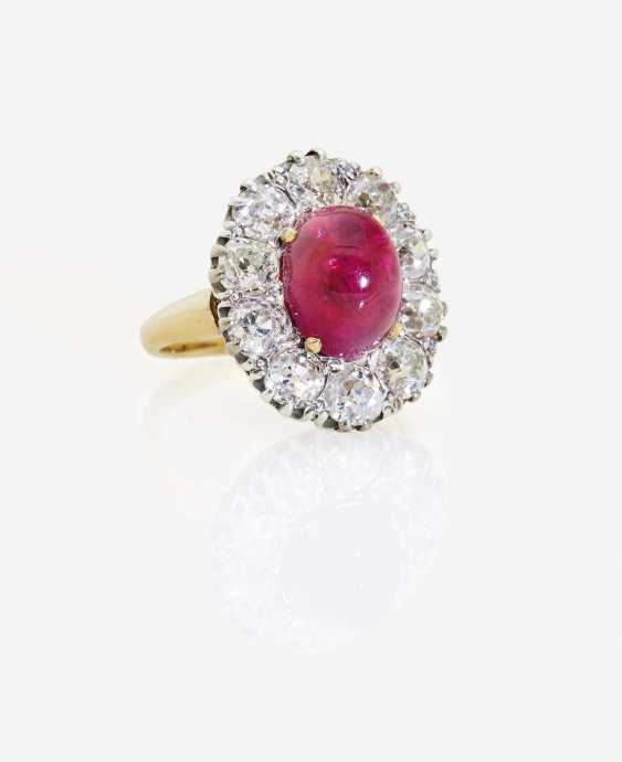ENTOURAGE RING DECORATED WITH A RUBY AND DIAMONDS - photo 1