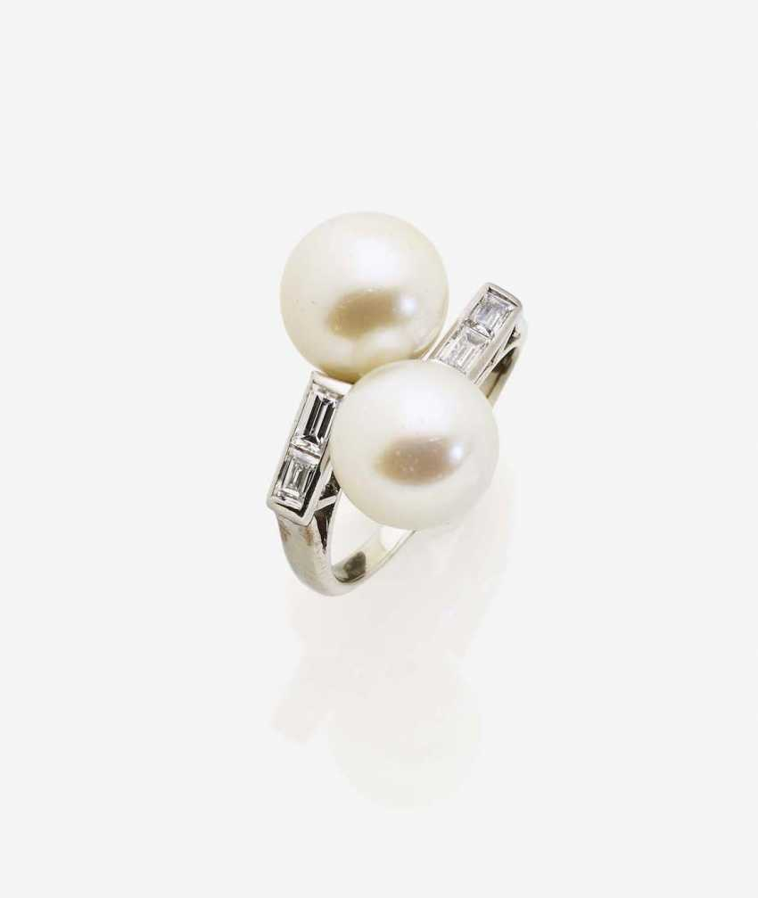 VIS A VIS RING ADORNED WITH AKOYA CULTURED PEARLS AND DIAMONDS - photo 1