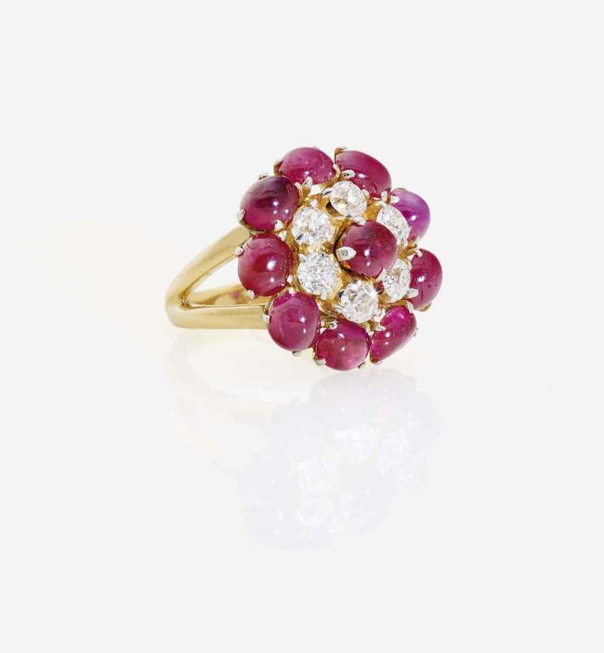 COCKTAIL RING DECORATED WITH RUBIES AND DIAMONDS - photo 1