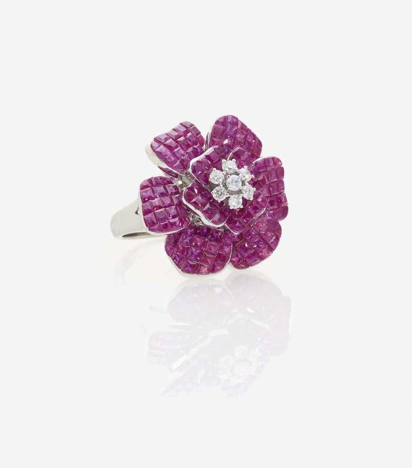 FLORAL COCKTAIL RING WITH RUBIES AND DIAMONDS - photo 1