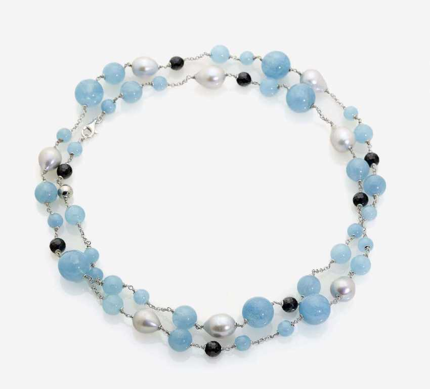 LONG NECKLACE IS DECORATED WITH SOUTH SEA CULTURED PEARLS, AQUAMARINE AND ONYX BALLS - photo 1