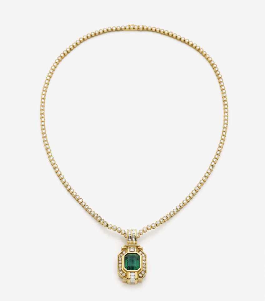 RIVIÈRE NECKLACE WITH BRILLIANTS CLIP PENDANT WITH EMERALD AND DIAMONDS - photo 1
