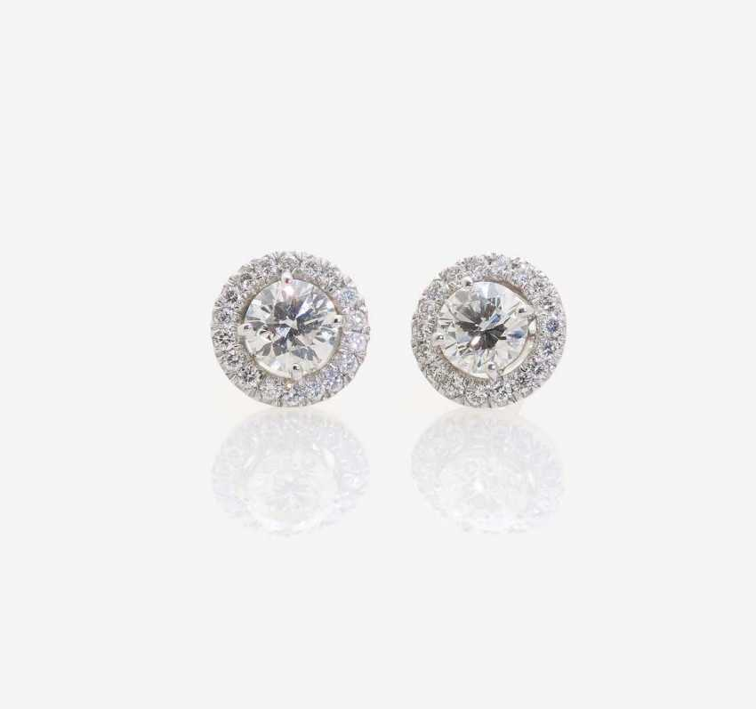 A PAIR OF STUD PIN PLUG DECORATED WITH BRILLIANT-CUT DIAMONDS - photo 1