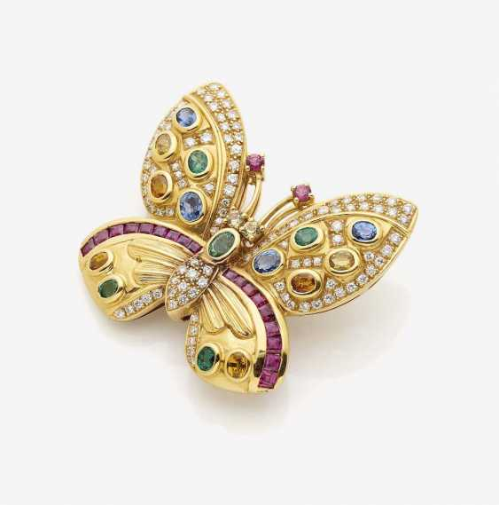 BUTTERFLY BROOCH/PENDANT WITH COLOR STONES AND DIAMONDS - photo 1