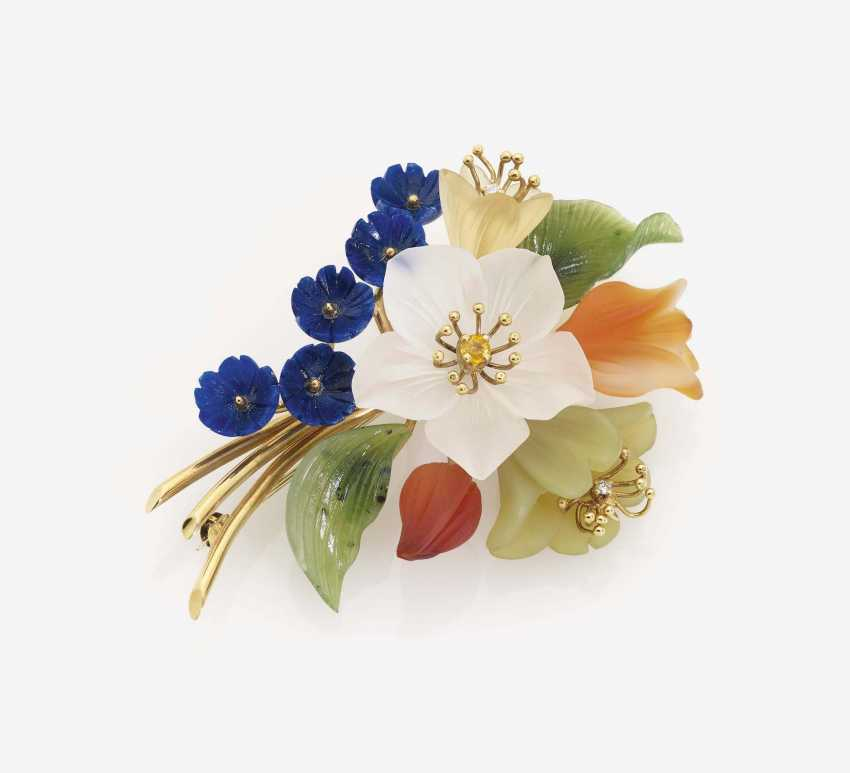 Bouquet of flowers BROOCH DECORATED WITH different-colored color of precious stones - photo 1