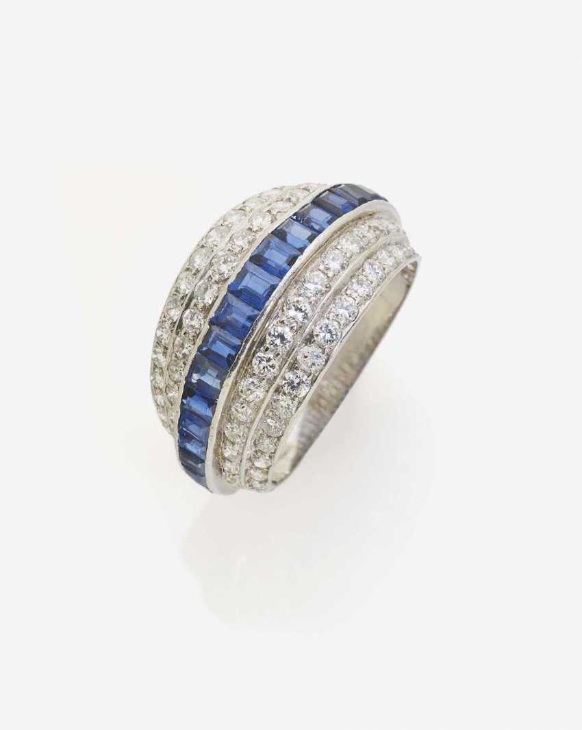 A MODIFIED BAND RING WITH DIAMONDS AND SAPPHIRES - photo 1