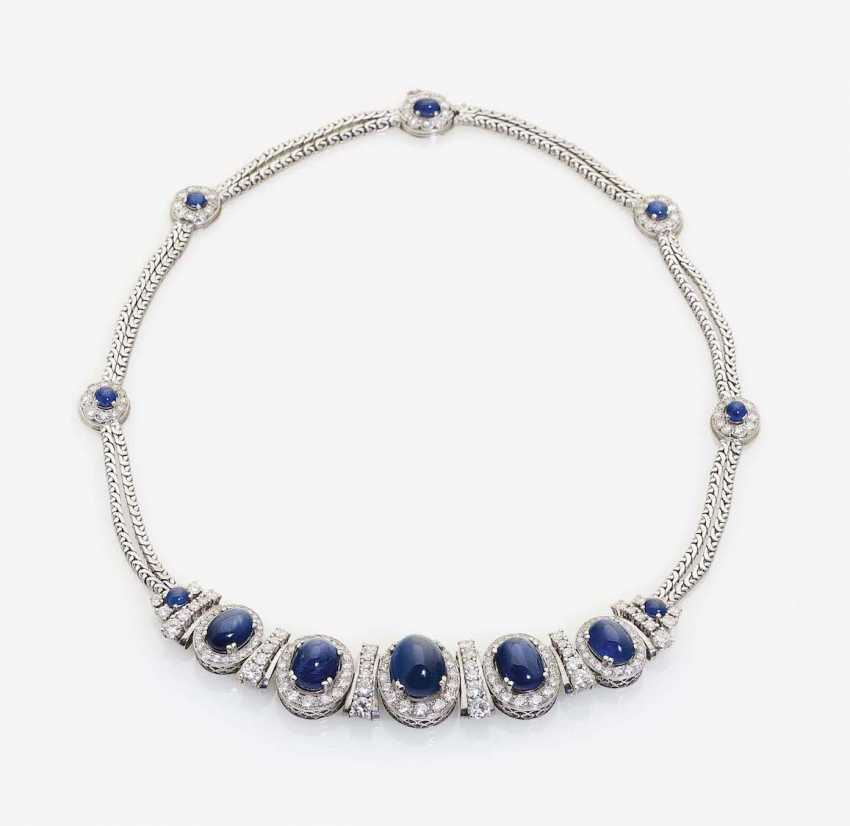 NECKLACE WITH SAPPHIRES AND DIAMONDS - photo 1