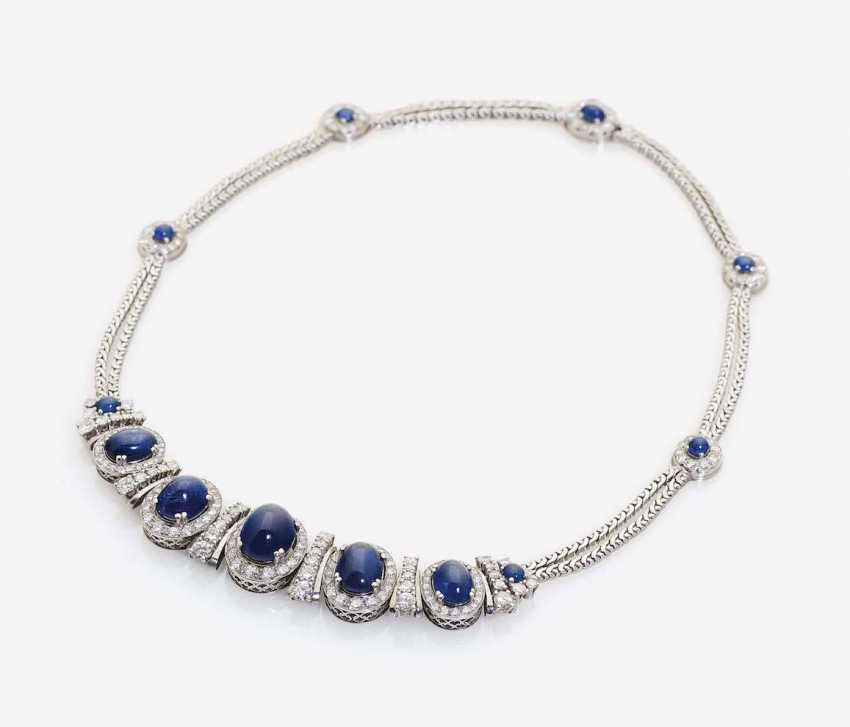 NECKLACE WITH SAPPHIRES AND DIAMONDS - photo 2