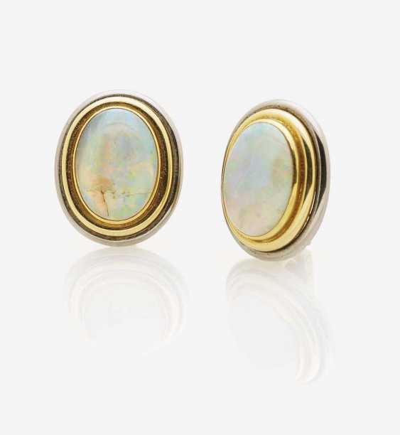 CLIP-ON EARRINGS WITH OPALS - photo 1