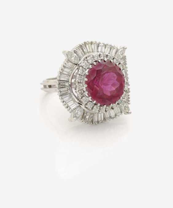 RING WITH RUBELLITE AND DIAMONDS - photo 1