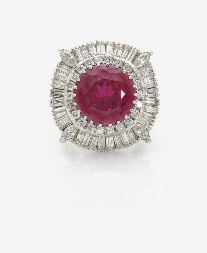 RING WITH RUBELLITE AND DIAMONDS - photo 2