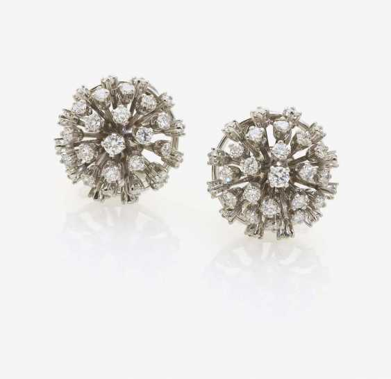 A PAIR OF CLIP-ON EARRINGS DECORATED WITH BRILLIANT-CUT DIAMONDS - photo 1
