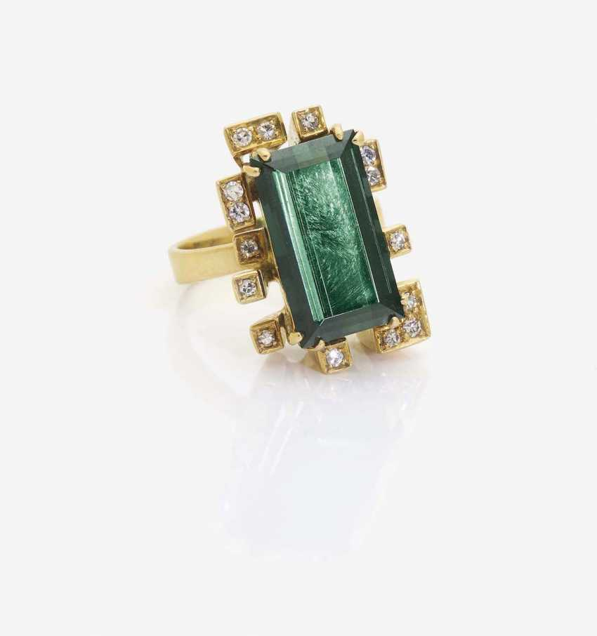 RING WITH TOURMALINE AND DIAMONDS - photo 1