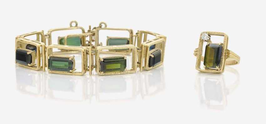 BRACELET AND RING WITH TOURMALINES - photo 1