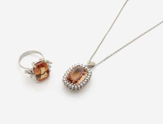 PENDANT AND RING WITH TOPAZ AND DIAMONDS - photo 1