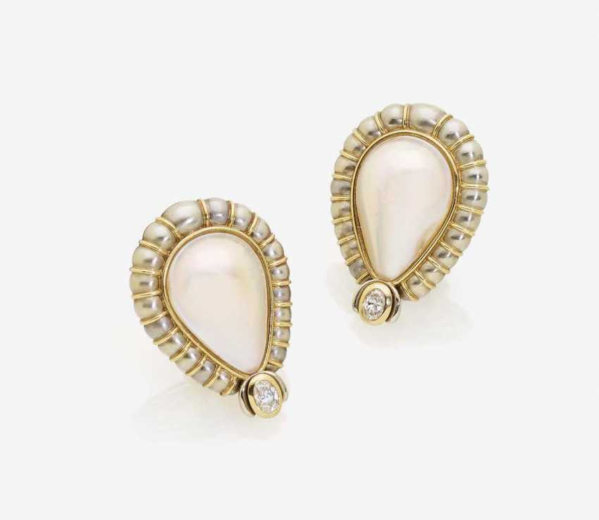 CLIP-ON EARRINGS WITH DROP-SHAPED MABÉ CULTURED PEARLS AND DIAMONDS - photo 1